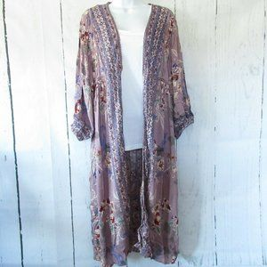 Angie Duster Kimono Floral Crochet Puff Sleeve